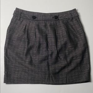 Ann Taylor Pleated Belted Skirt Buttons Pockets 8P